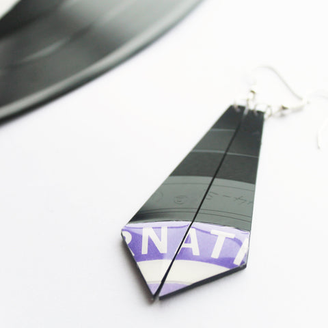 modern vinyl record earrings