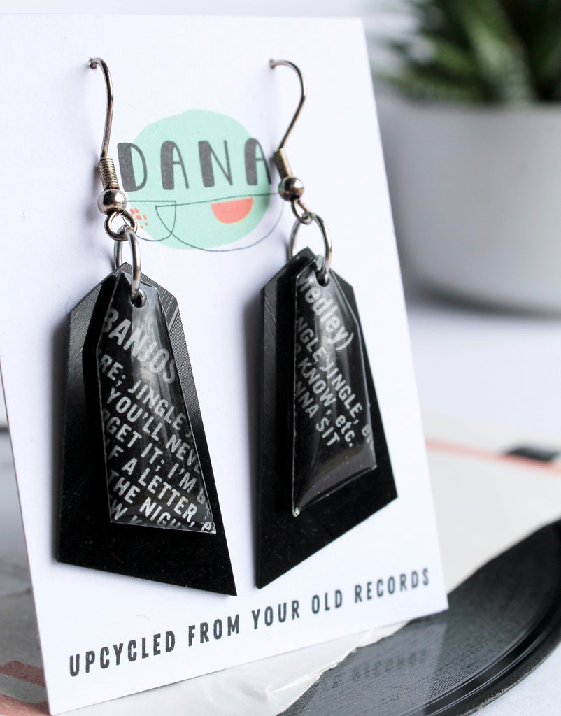 JINGLE JANGLE upcyled geometric vinyl record earrings / unique irish design