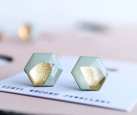 *new* upcycled hexagon studs in light mint green and gold