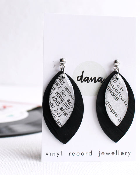 """Roses Bring Memories"" statement dangle earrings handmade from vinyl record"