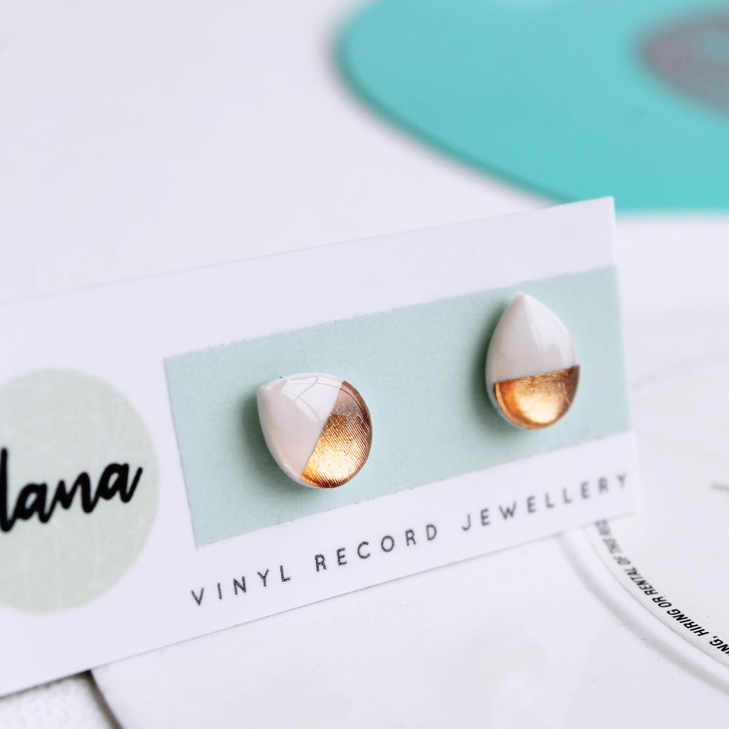 Dainty drops in white and rose gold / vinyl record jewelry