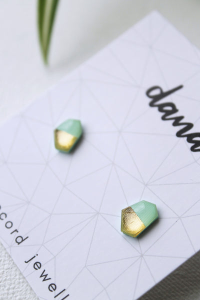 Minimal mint and gold geometric vinyl record studs