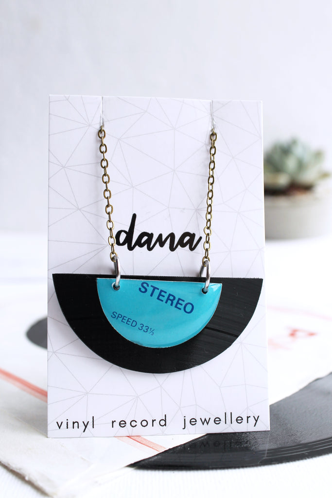 light blue semicircle upcycled necklace / vinyl record jewelry