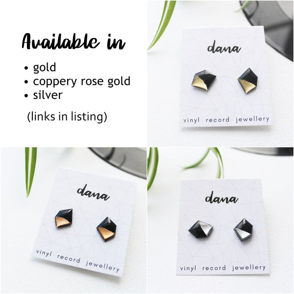 Geometric black and sivler nugget vinyl record post earrings