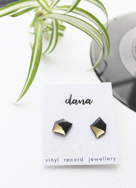 Nugget black and gold vinyl record post earrings