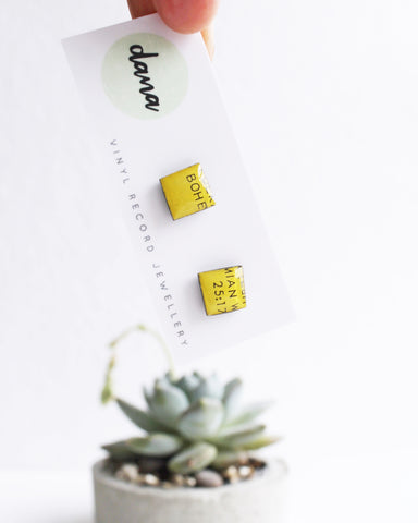 """Bohemian"" yellow square stud earrings / unique handmade recycled earrings"