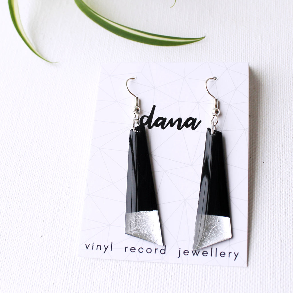 Eco-friendly black and silver dangle earrings / vinyl record jewelry