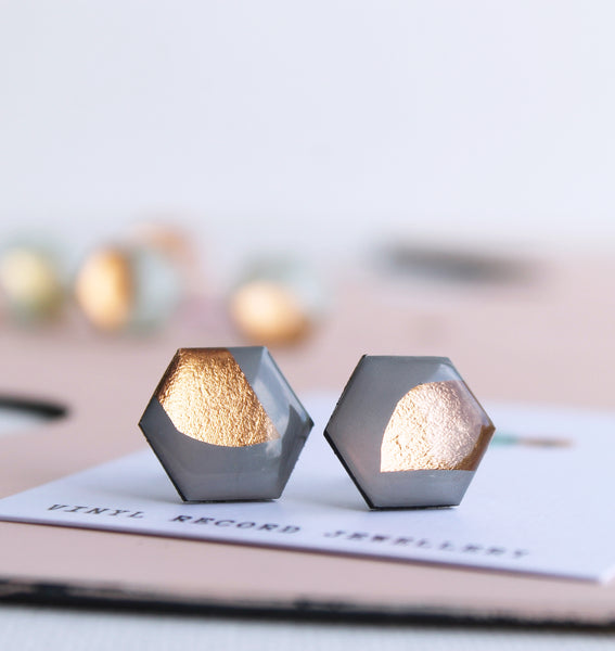 *new* upcycled hexagon studs in grey and copper