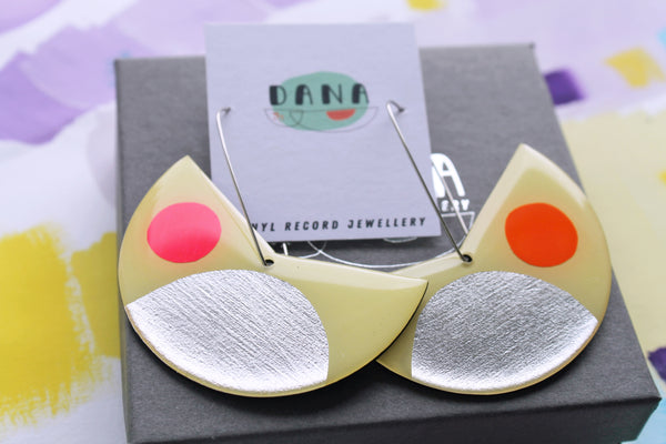 Big and bold in pastel yellow, silver, pink and orange / upcycled art earrings