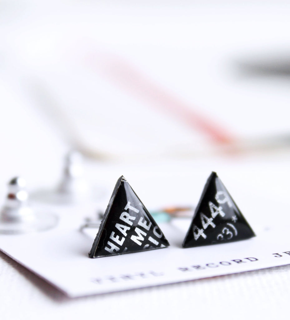 *New HEART ME simple black triangle recycled vinyl record studs by DANA Jewellery