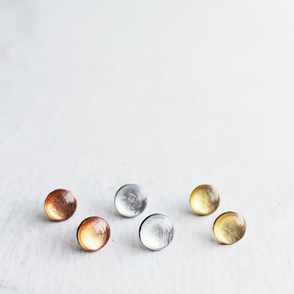 Dainty metallic stud earrings / eco jewelry