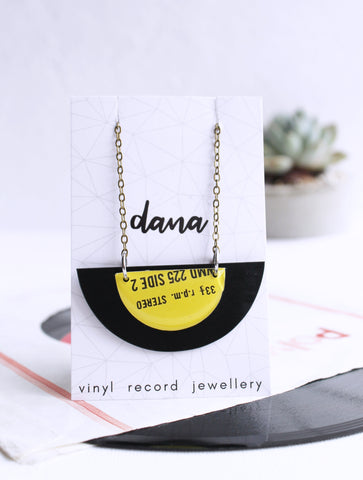 black and yellow half disc vinyl record necklace - unique gift for music geek