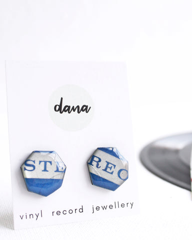 Geometric vinyl record stud earrings in blue and grey