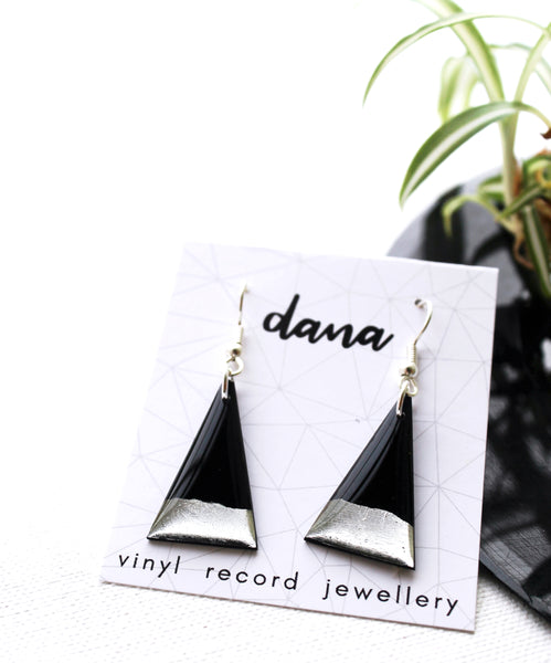 Modern triangle black and silver vinyl record earrings