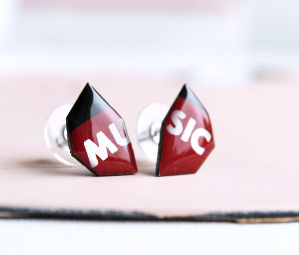 *New MUSIC studs in deep red and silver grey / ooak upcycled vinyl jewelry