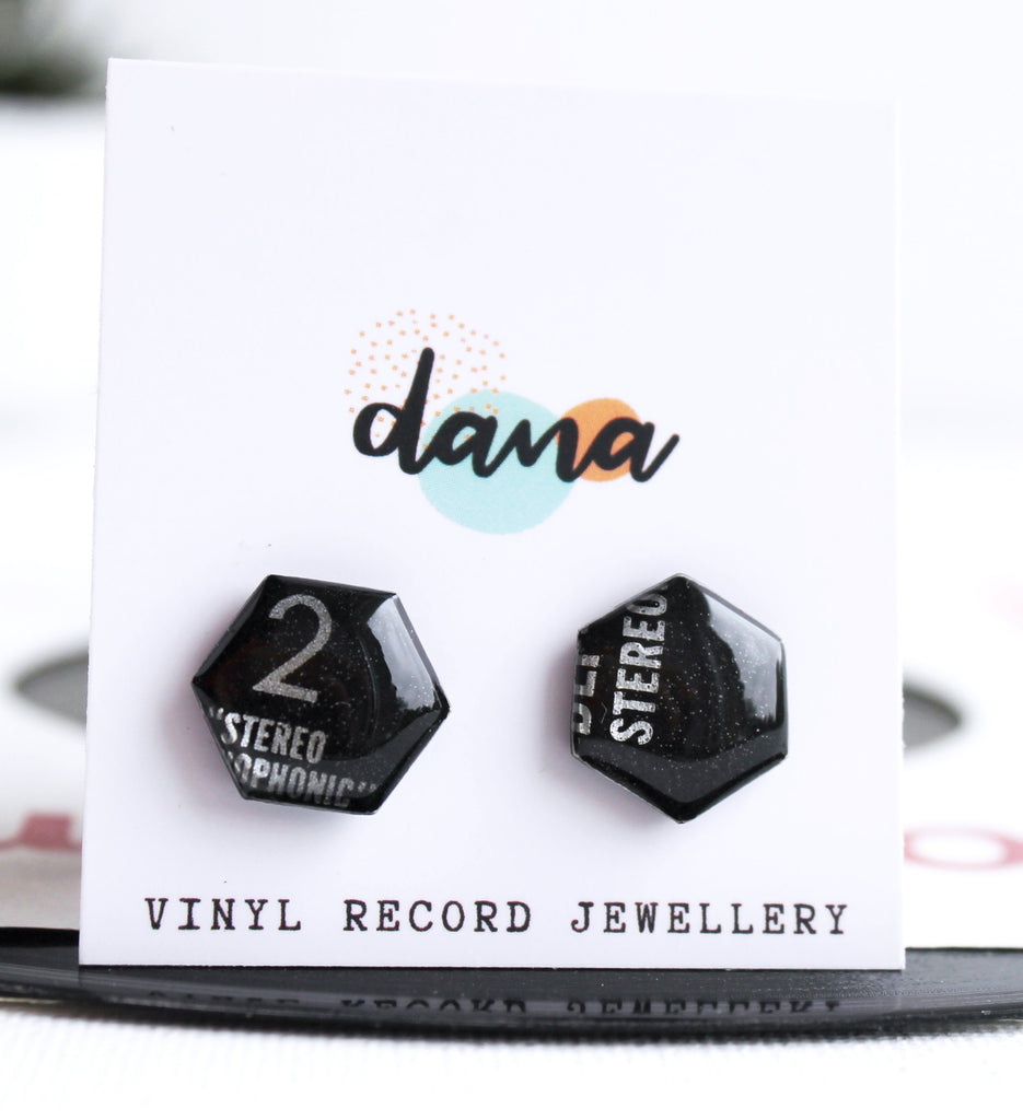 *NEW edgy musical black geometric vinyl record studs - sustainable fashion
