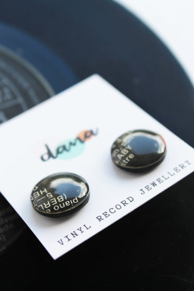 20% OFF black vinyl record studs / one of a kind
