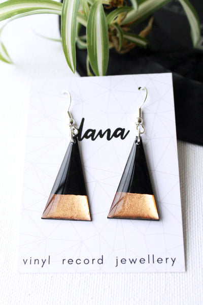 Copper dipped minimal triangle vinyl record earrings