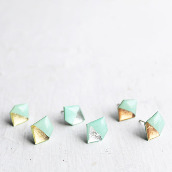 Dainty geometric minty metallic stud earrings