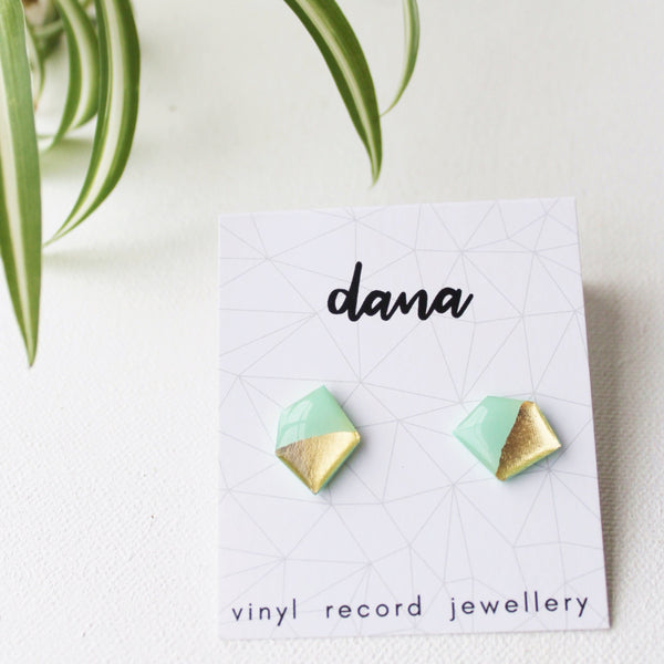 Gold and mint nugget vinyl record post earrings
