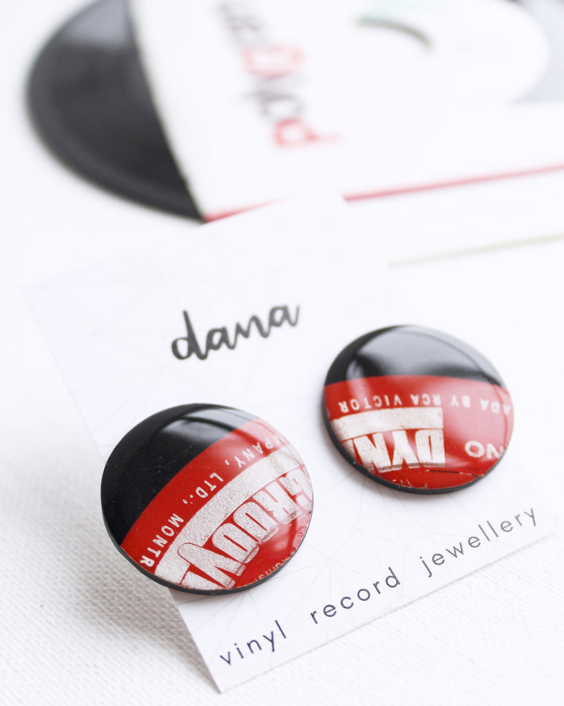 big bold red disc stud earrings handmade from recycled vinyl record
