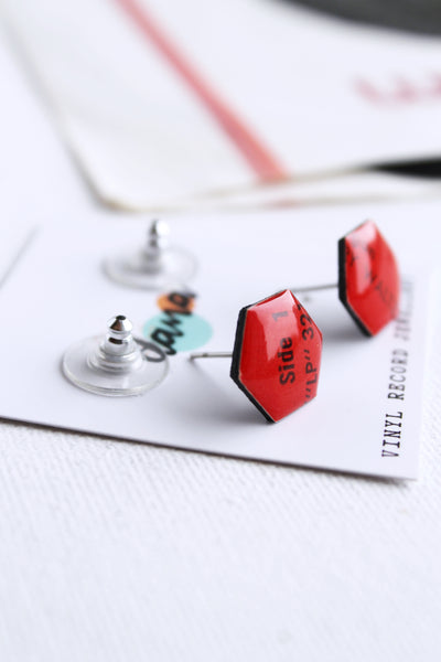 hot red recycled vinyl record earrings - sustainable fashion
