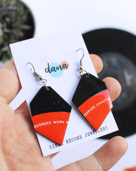 30% OFF upcycled geometric vinyl record earrings in red