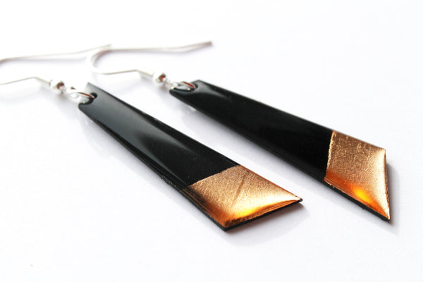 Minimalist black and copper vinyl record earrings