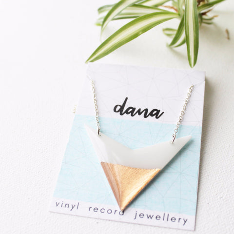 geometric arrow vinyl record necklace in rose gold and white