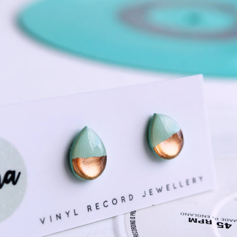 Mint and rose gold teardrop stud earrings / vinyl record jewelry