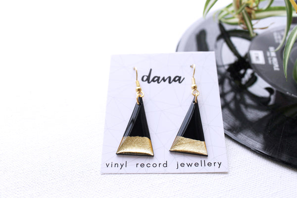 Gold dipped minimal triangle vinyl record earrings