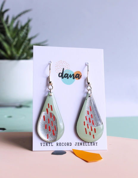 *new* festive teardrops in retro green, silver and a bold hint of red
