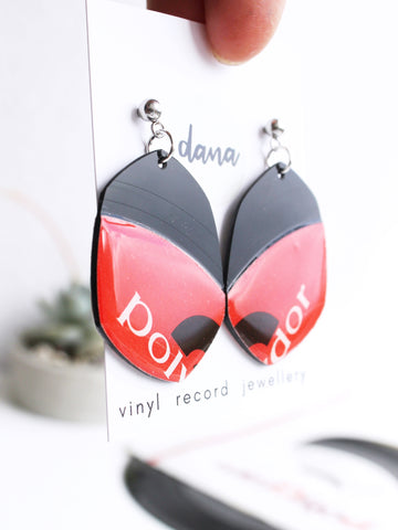 Handmade Repurposed Polydor vinyl record dangle earrings
