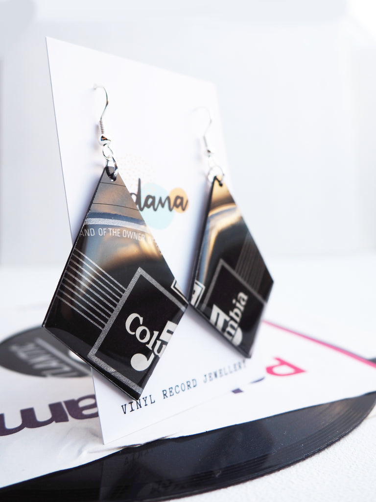 Big bold columbia geometric vinyl record earrings - hypoallergenic