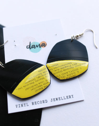 50% OFF yellow pebble upcycled vinyl record earrings