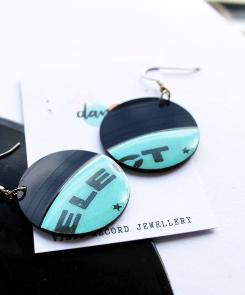 20% OFF aqua disc vinyl record dangle earrings