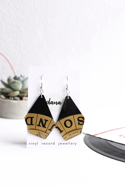 Bronze SOUND recycled statement earrings / vinyl record jewelry by DANA