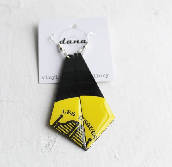 Large statement yellow vinyl record earrings
