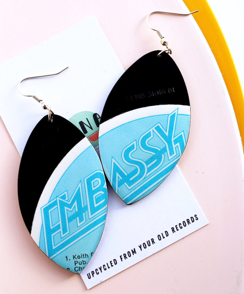 *new Very retro large one of a kind light blue recycled vinyl earrings