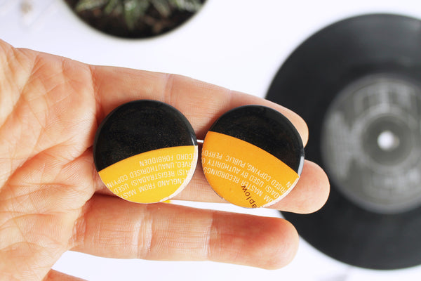 40% OFF BIG LARGE orange round vinyl record studs