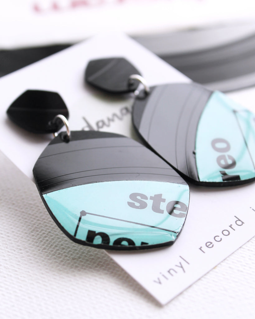 Aqua vinyl record dangle earrings- the pebbles