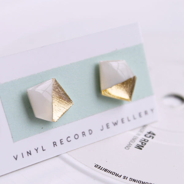 Geometric nugget vinyl record stud earrings in white and gold