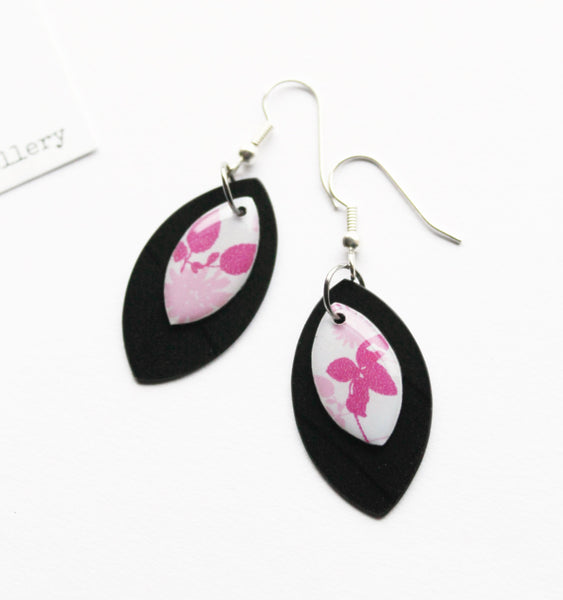 cute floral earrings / vinyl jewelry