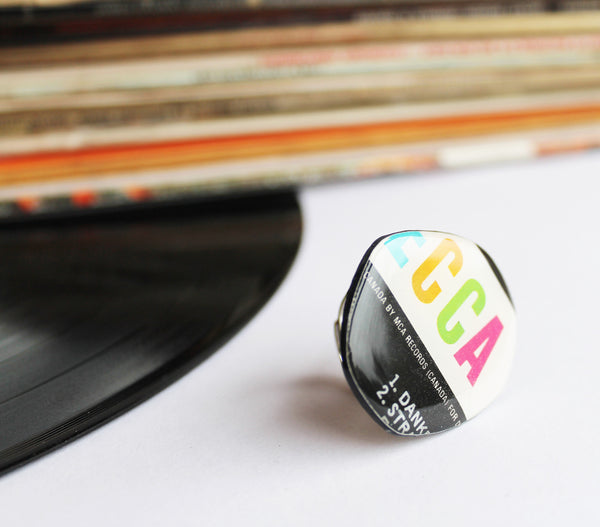 Colorful statement ring / vinyl record ring