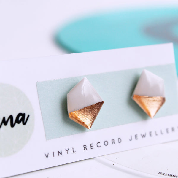 Nugget studs in white and coppery rose gold / vinyl record jewelry