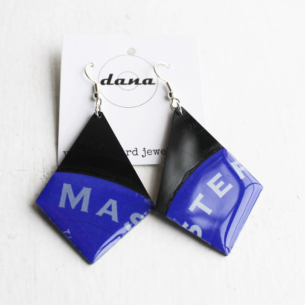 Blue triangle vinyl record earrings