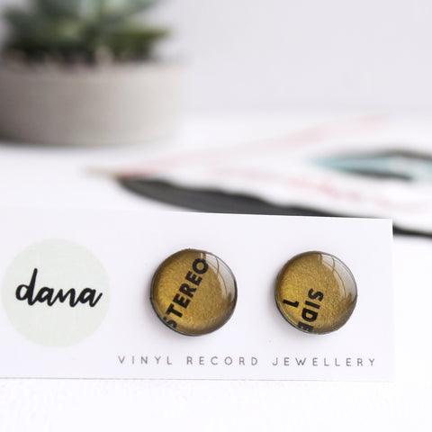 Bronze stereo 14mm vinyl record stud earrings / nickel free studs