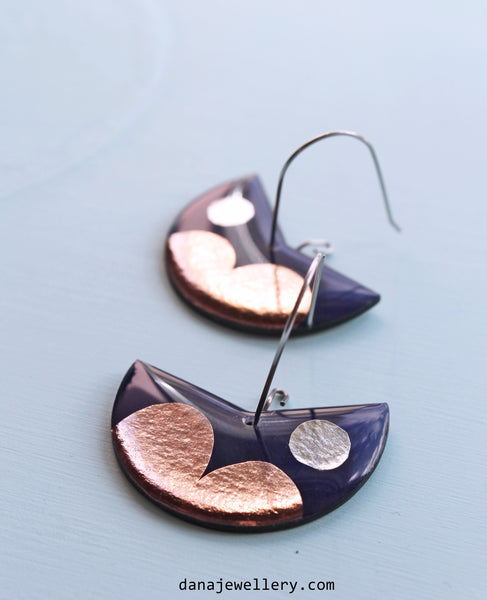 Abstract mixed media art earrings in copper, silver and dark blue / upcycled fashion