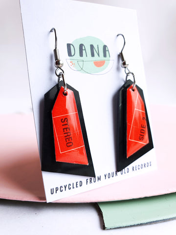 Handcrafted black and red dangle earrings / ooak vinyl jewelry