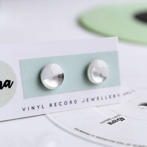 Everyday white and silver disc studs / vinyl record earrings